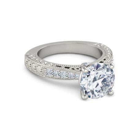 Round Diamond Platinum Ring with Diamond | Megan Ring ...