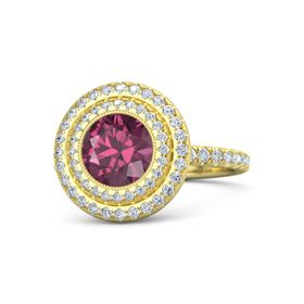 Round Rhodolite Garnet 14K Yellow Gold Ring with Diamond