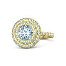Round Aquamarine 14K Yellow Gold Ring with Aquamarine & White Sapphire