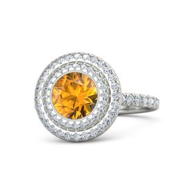 Round Citrine Palladium Ring with Diamond