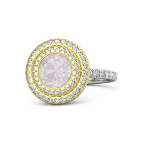 Round Rose Quartz Platinum Ring with Diamond