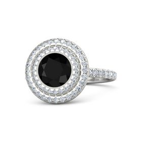 Round Black Onyx Sterling Silver Ring with Diamond