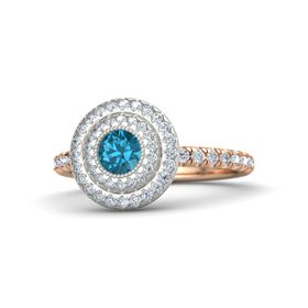 Round London Blue Topaz 18K Rose Gold Ring with Diamond