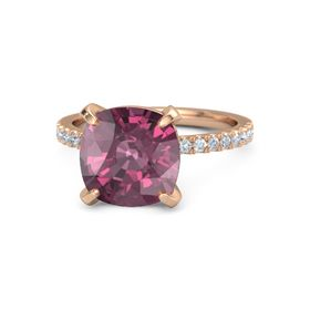 Cushion Rhodolite Garnet 14K Rose Gold Ring with Diamond