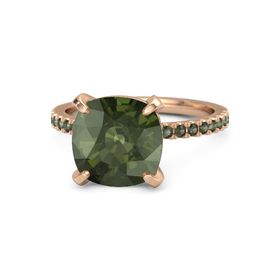 Cushion Green Tourmaline 14K Rose Gold Ring with Green Tourmaline