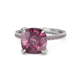 Cushion Rhodolite Garnet 14K White Gold Ring with Rhodolite Garnet