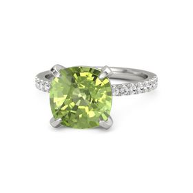 Cushion Peridot 14K White Gold Ring with White Sapphire