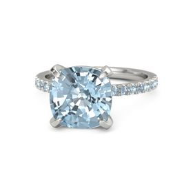 Cushion Aquamarine 14K White Gold Ring with Blue Topaz and Aquamarine