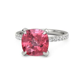Cushion Pink Tourmaline 14K White Gold Ring with White Sapphire