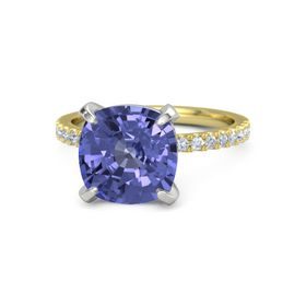 Cushion Tanzanite 14K Yellow Gold Ring with Diamond