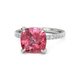 Cushion Pink Tourmaline Sterling Silver Ring with Diamond