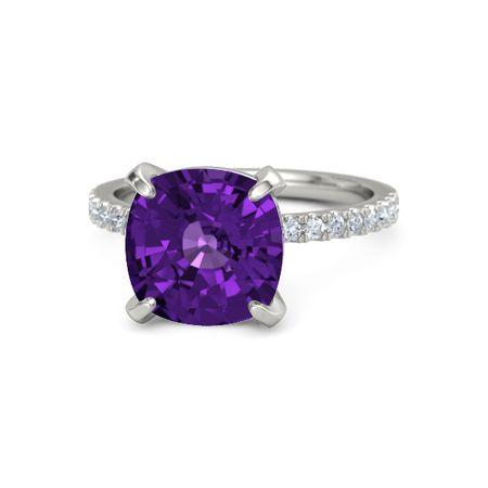 70a06a578 Cushion Amethyst 14K White Gold Ring with Diamond | Cushion-Cut ...