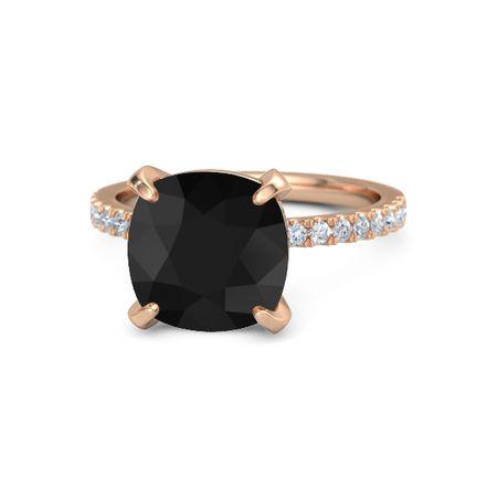 Cushion Black Onyx 14k Rose Gold Ring With Diamond Candace Ring Gemvara