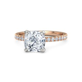 Cushion Moissanite 14K Rose Gold Ring with Diamond