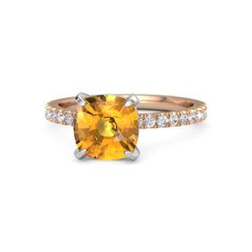 Cushion Citrine 14K Rose Gold Ring with Diamond & White Sapphire