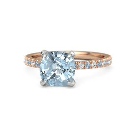 Cushion Aquamarine 14K Rose Gold Ring with Blue Topaz & White Sapphire