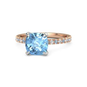 Cushion Blue Topaz 14K Rose Gold Ring with Blue Topaz & White Sapphire