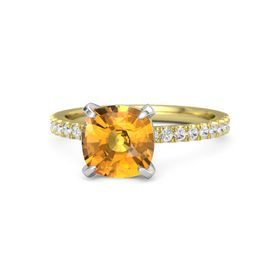 Cushion Citrine 14K Yellow Gold Ring with White Sapphire