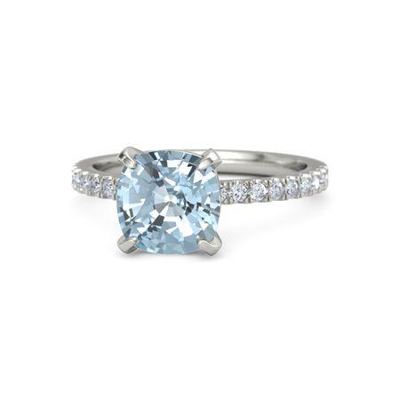 Cushion Aquamarine 14k White Gold Ring With Diamond Cushion Cut