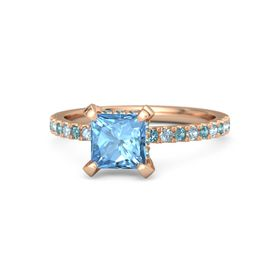 Princess Blue Topaz 14K Rose Gold Ring with London Blue Topaz & Aquamarine