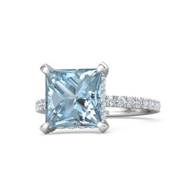 Princess Aquamarine Sterling Silver Ring with Diamond
