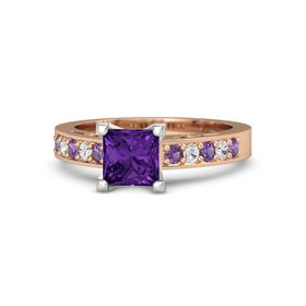 Princess Amethyst 14K Rose Gold Ring with Amethyst and White Sapphire