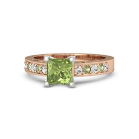 Princess Peridot 14K Rose Gold Ring with White Sapphire and Peridot