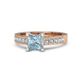 Princess Aquamarine 14K Rose Gold Ring with Aquamarine