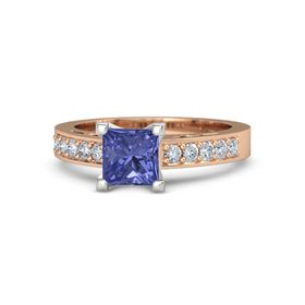 Princess Tanzanite 14K Rose Gold Ring with Diamond
