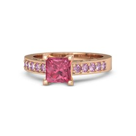 Princess Pink Tourmaline 14K Rose Gold Ring with Pink Sapphire