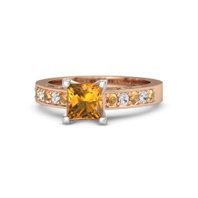 Princess Citrine 14K Rose Gold Ring with Citrine and White Sapphire