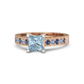Princess Aquamarine 14K Rose Gold Ring with Blue Sapphire and Blue Topaz