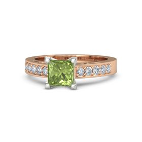 Princess Peridot 14K Rose Gold Ring with Diamond