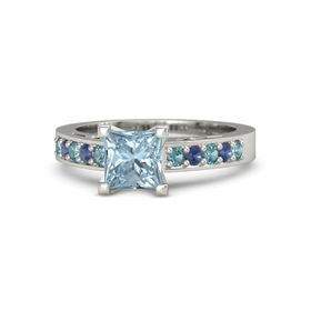 Princess Aquamarine 14K White Gold Ring with London Blue Topaz and Blue Sapphire