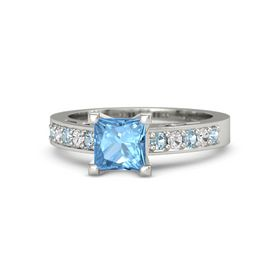Princess Blue Topaz 14K White Gold Ring with Aquamarine and White Sapphire
