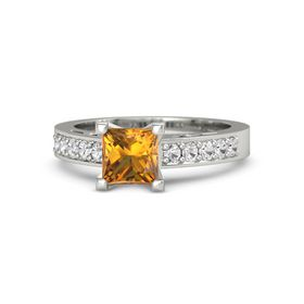 Princess Citrine 14K White Gold Ring with White Sapphire