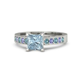 Princess Aquamarine 14K White Gold Ring with London Blue Topaz and Iolite