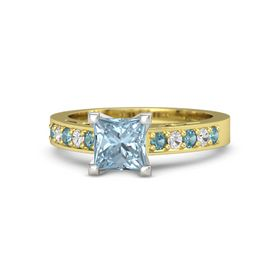 Princess Aquamarine 14K Yellow Gold Ring with London Blue Topaz and White Sapphire