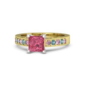 Princess Pink Tourmaline 14K Yellow Gold Ring with Pink Sapphire and London Blue Topaz