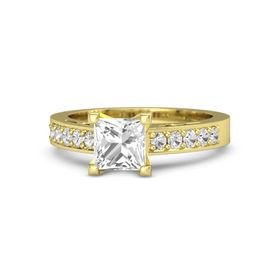 Princess Rock Crystal 14K Yellow Gold Ring with White Sapphire