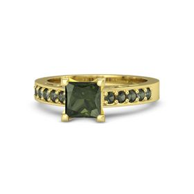 Princess Green Tourmaline 14K Yellow Gold Ring with Green Tourmaline