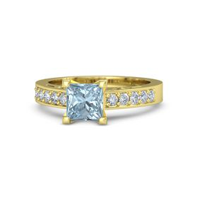 Princess Aquamarine 14K Yellow Gold Ring with Diamond
