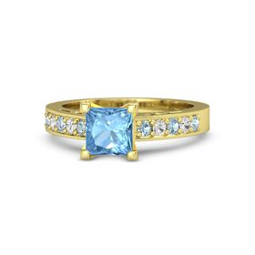 Princess Blue Topaz 14K Yellow Gold Ring with Aquamarine and White Sapphire