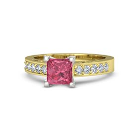 Princess Pink Tourmaline 14K Yellow Gold Ring with Diamond