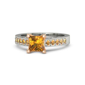 Princess Citrine Palladium Ring with Citrine