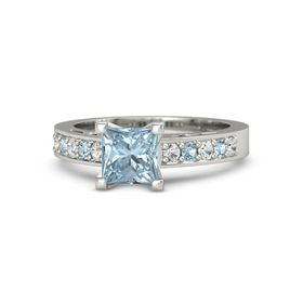 Princess Aquamarine Palladium Ring with White Sapphire and Aquamarine