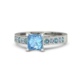 Princess Blue Topaz Palladium Ring with London Blue Topaz and Blue Topaz