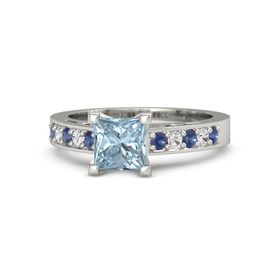 Princess Aquamarine Platinum Ring with Blue Sapphire and White Sapphire