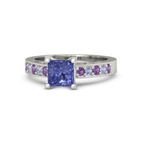 Princess Tanzanite Platinum Ring with Amethyst and Tanzanite