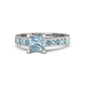 Princess Aquamarine Sterling Silver Ring with London Blue Topaz and Aquamarine